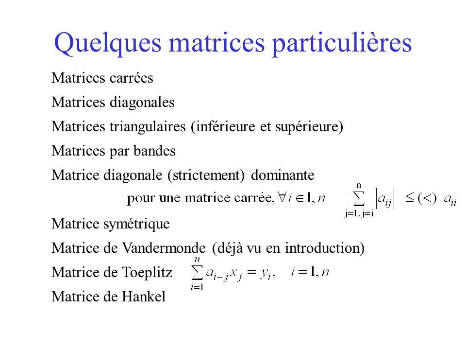 Quelques matrices particulières Matrices carrées Matrices diagonales Matrices triangulaires (inférieure et supérieure) Matrices par bandes Matrice dia