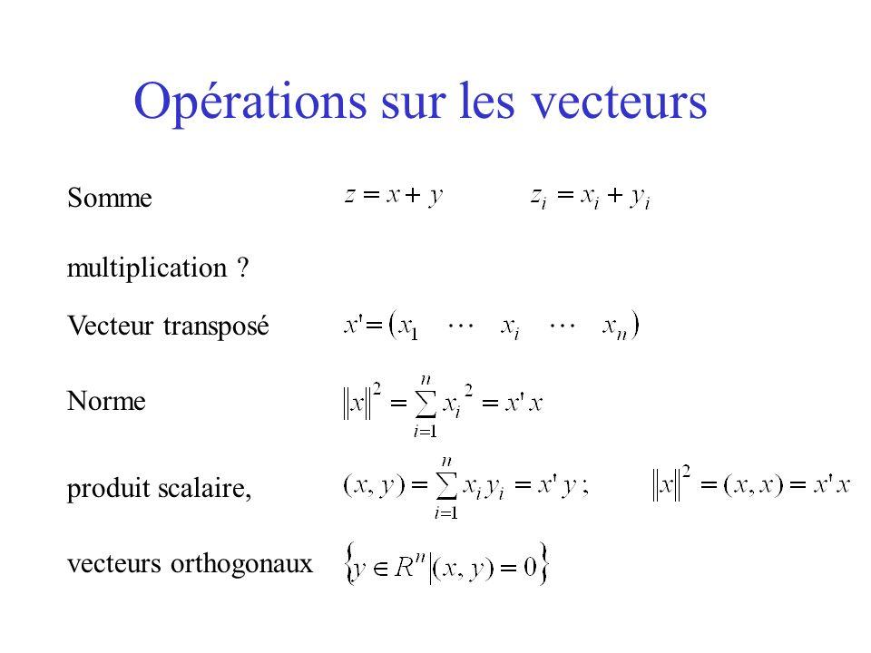 Opérations sur les vecteurs Somme multiplication ? Vecteur transposé Norme produit scalaire, vecteurs orthogonaux