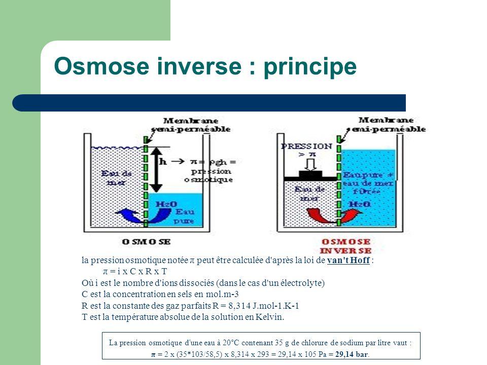 Osmose inverse : principe la pression osmotique notée π peut être calculée d'après la loi de van't Hoff : π = i x C x R x T Où i est le nombre d'ions