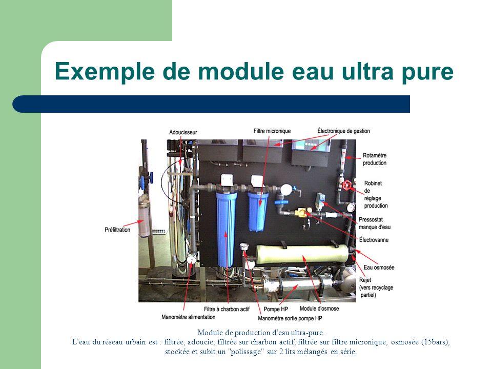 Exemple de module eau ultra pure Module de production d'eau ultra-pure. L'eau du réseau urbain est : filtrée, adoucie, filtrée sur charbon actif, filt
