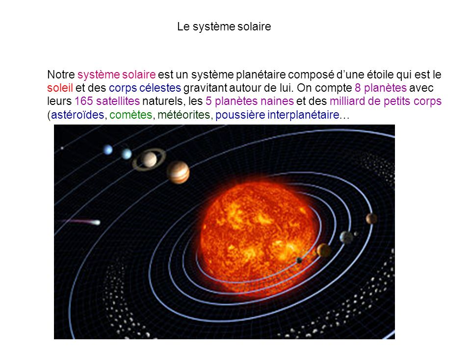Le système solaire Notre système solaire est un système planétaire composé dune étoile qui est le soleil et des corps célestes gravitant autour de lui
