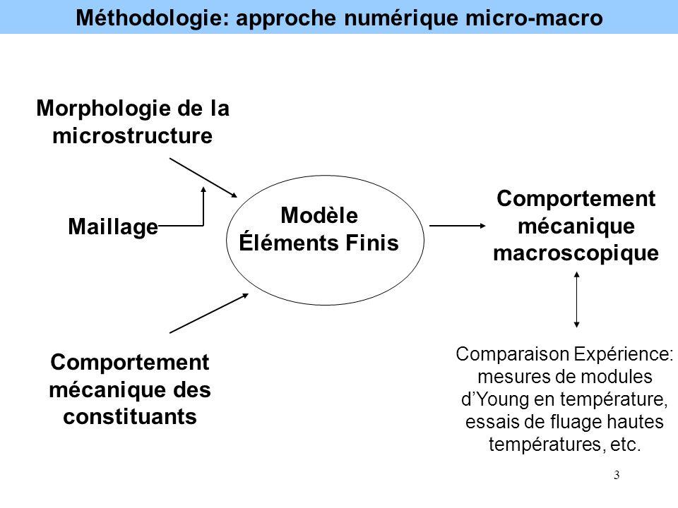 3 Modèle Éléments Finis Morphologie de la microstructure Comportement mécanique des constituants Comportement mécanique macroscopique Comparaison Expé