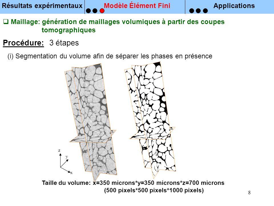 8 Maillage: génération de maillages volumiques à partir des coupes tomographiques (i) Segmentation du volume afin de séparer les phases en présence Pr