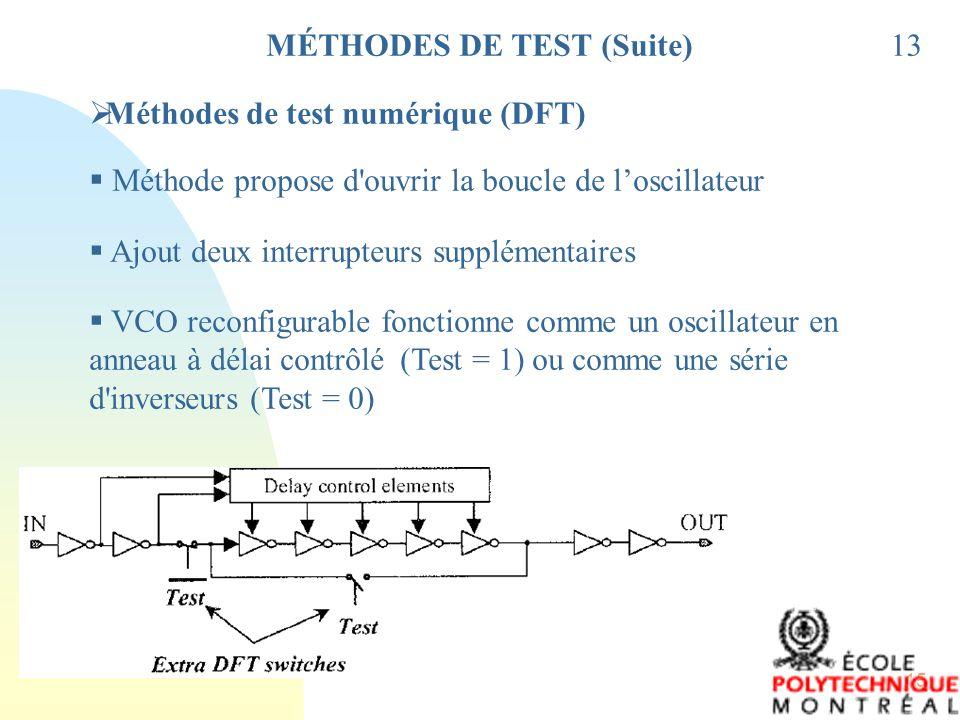 15 13 Méthodes de test numérique (DFT) Méthode propose d'ouvrir la boucle de loscillateur Ajout deux interrupteurs supplémentaires VCO reconfigurable