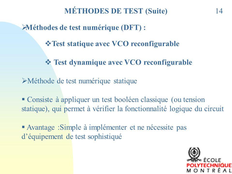 16 MÉTHODES DE TEST (Suite)14 Méthodes de test numérique (DFT) : Test statique avec VCO reconfigurable Test dynamique avec VCO reconfigurable Méthode