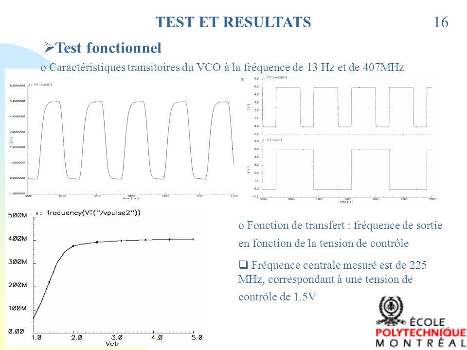 18 16TEST ET RESULTATS Test fonctionnel o Caractéristiques transitoires du VCO à la fréquence de 13 Hz et de 407MHz o Fonction de transfert : fréquenc