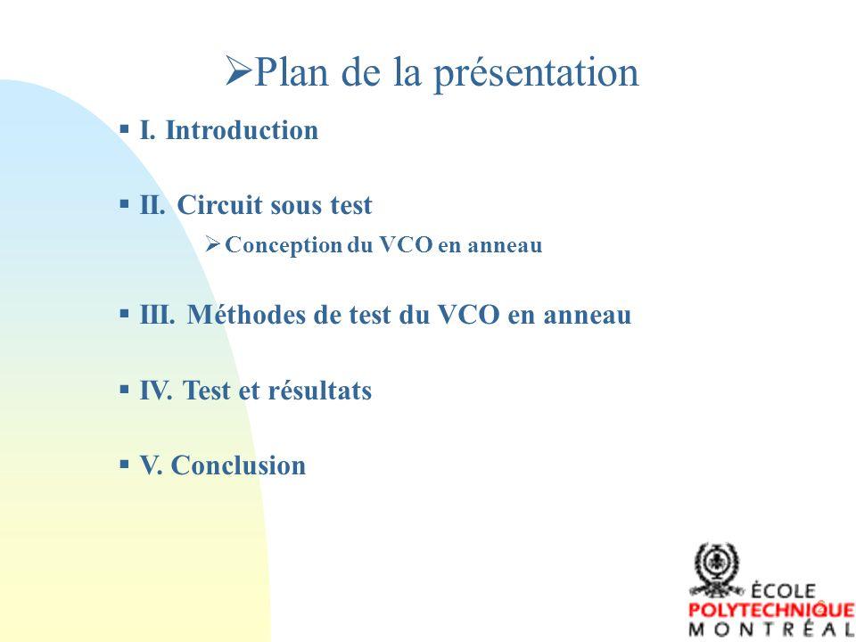 2 Plan de la présentation I. Introduction II. Circuit sous test Conception du VCO en anneau III. Méthodes de test du VCO en anneau IV. Test et résulta