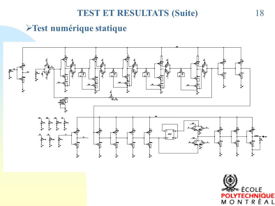 20 TEST ET RESULTATS (Suite)18 Test numérique statique