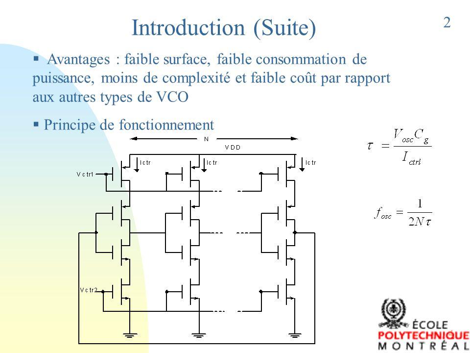 5 CIRCUIT SOUS TEST CONCEPTION DU VCO Ajouter une résistance contrôlable à l entrée de chaque étage Augmentation du délai Fréquence d oscillation peut être changée en variant la valeur de la résistance R V 3