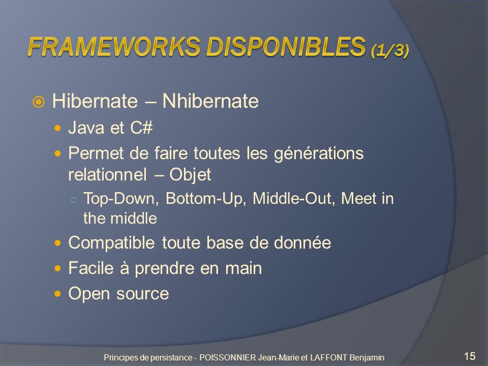 Hibernate – Nhibernate Java et C# Permet de faire toutes les générations relationnel – Objet Top-Down, Bottom-Up, Middle-Out, Meet in the middle Compa