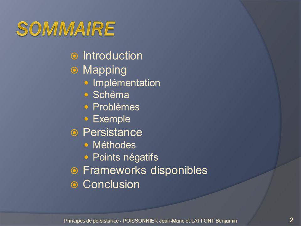 Principe de la persistance 3 Principes de persistance - POISSONNIER Jean-Marie et LAFFONT Benjamin