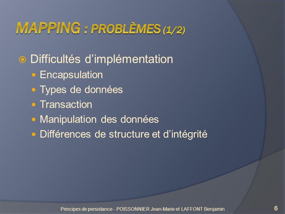 6 Difficultés dimplémentation Encapsulation Types de données Transaction Manipulation des données Différences de structure et dintégrité