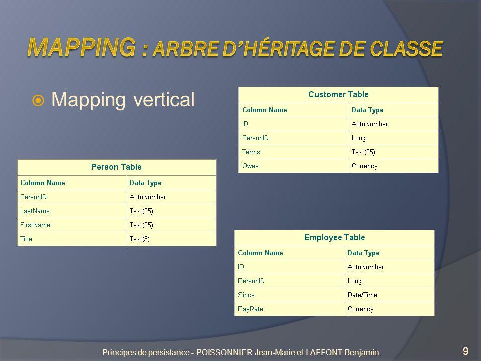 Mapping horizontal 10 Principes de persistance - POISSONNIER Jean-Marie et LAFFONT Benjamin