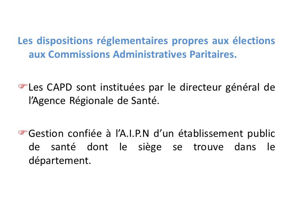 Les dispositions réglementaires propres aux élections aux Commissions Administratives Paritaires. Les CAPD sont instituées par le directeur général de