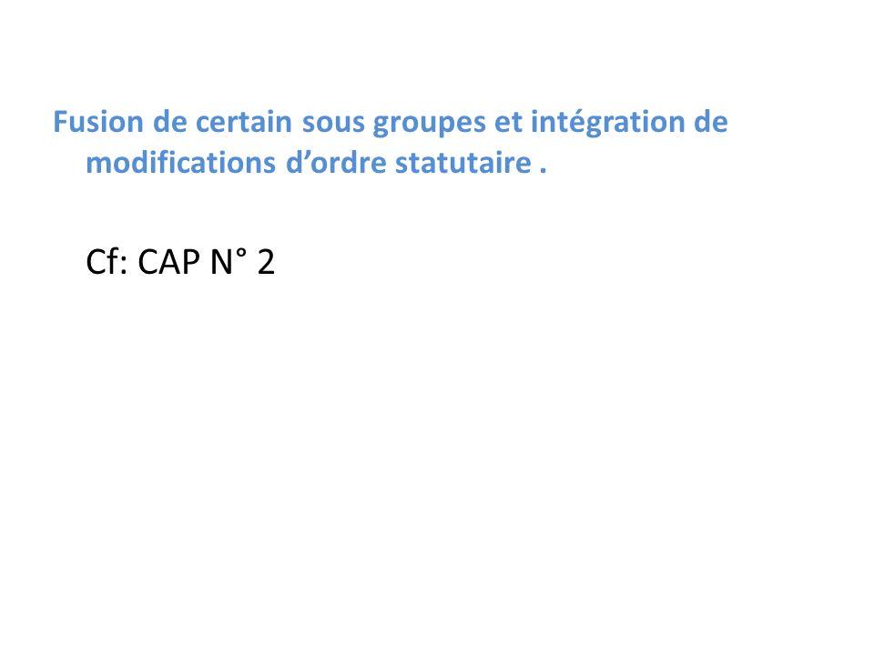 Fusion de certain sous groupes et intégration de modifications dordre statutaire. Cf: CAP N° 2
