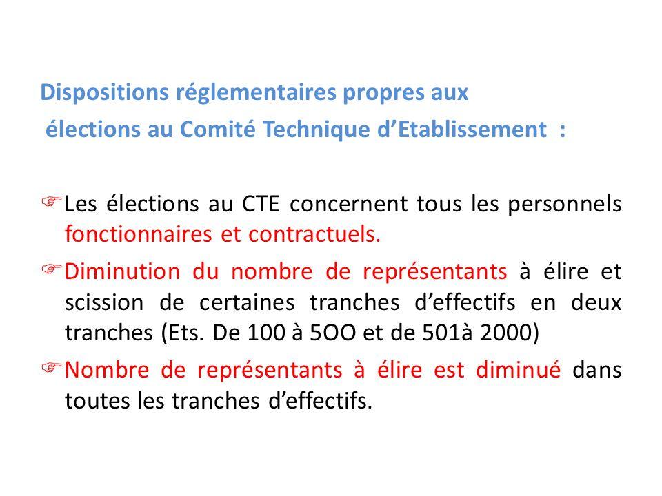 Dispositions réglementaires propres aux élections au Comité Technique dEtablissement : Les élections au CTE concernent tous les personnels fonctionnaires et contractuels.