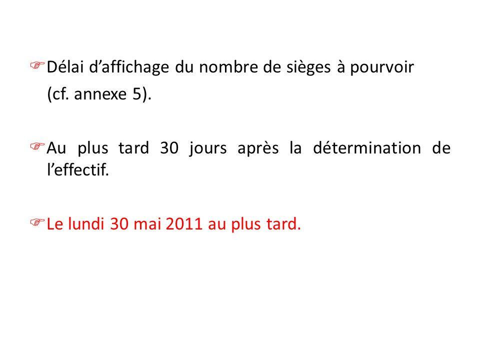 Délai daffichage du nombre de sièges à pourvoir (cf. annexe 5). Au plus tard 30 jours après la détermination de leffectif. Le lundi 30 mai 2011 au plu
