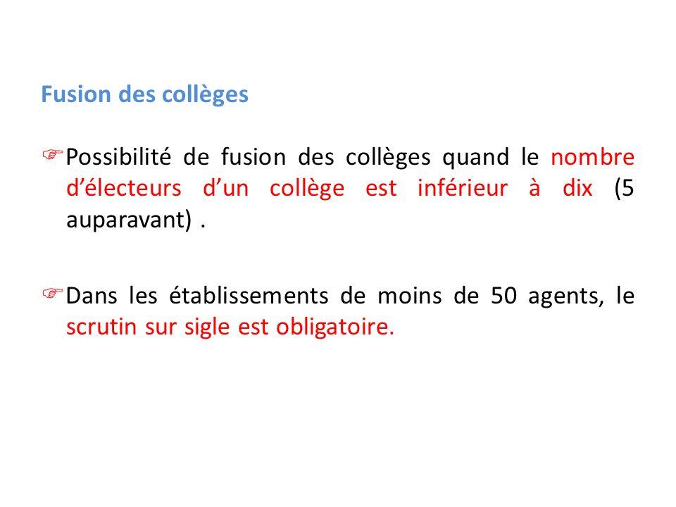 Fusion des collèges Possibilité de fusion des collèges quand le nombre délecteurs dun collège est inférieur à dix (5 auparavant). Dans les établisseme