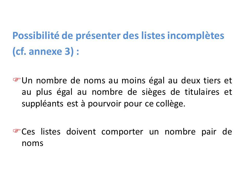 Possibilité de présenter des listes incomplètes (cf.