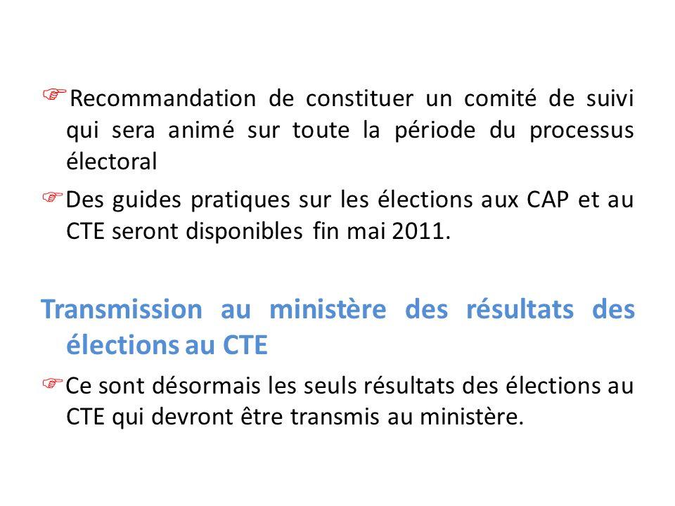 Recommandation de constituer un comité de suivi qui sera animé sur toute la période du processus électoral Des guides pratiques sur les élections aux