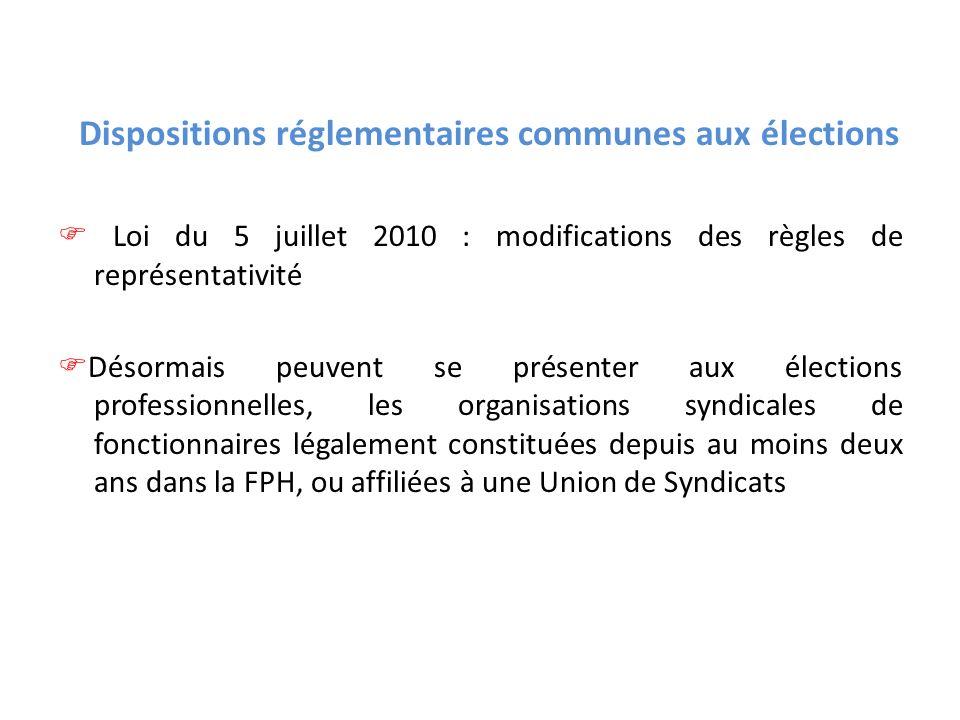Dispositions réglementaires communes aux élections Loi du 5 juillet 2010 : modifications des règles de représentativité Désormais peuvent se présenter