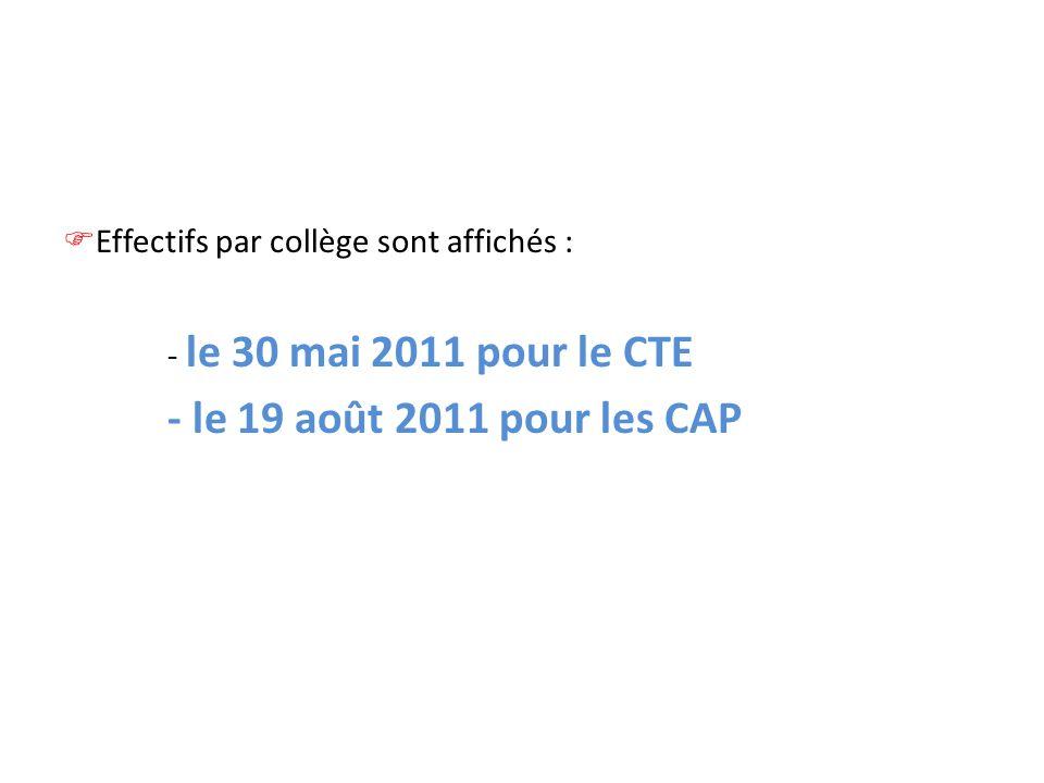 Effectifs par collège sont affichés : - le 30 mai 2011 pour le CTE - le 19 août 2011 pour les CAP