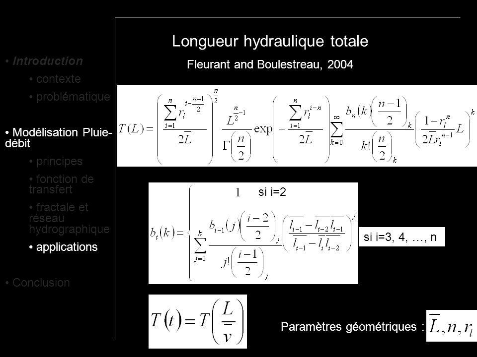 Longueur hydraulique totale si i=2 si i=3, 4, …, n Fleurant and Boulestreau, 2004 Paramètres géométriques : Introduction contexte problématique Modéli