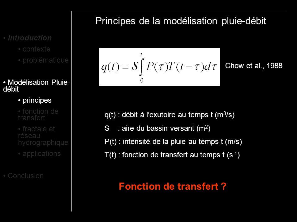 Principes de la modélisation pluie-débit Chow et al., 1988 q(t) : débit à lexutoire au temps t (m 3 /s) S : aire du bassin versant (m 2 ) P(t) : inten