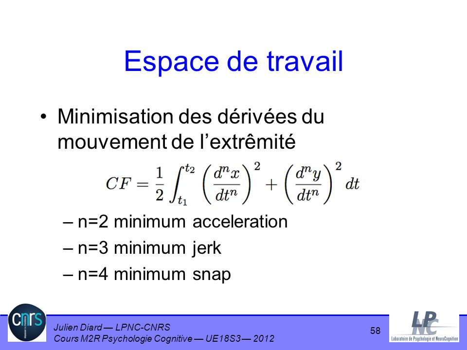 Julien Diard LPNC-CNRS Cours M2R Psychologie Cognitive UE18S3 2012 Espace de travail Minimisation des dérivées du mouvement de lextrêmité –n=2 minimum