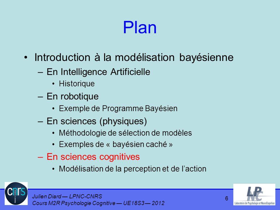 Julien Diard LPNC-CNRS Cours M2R Psychologie Cognitive UE18S3 2012 Plan Introduction à la modélisation bayésienne –En Intelligence Artificielle Histor