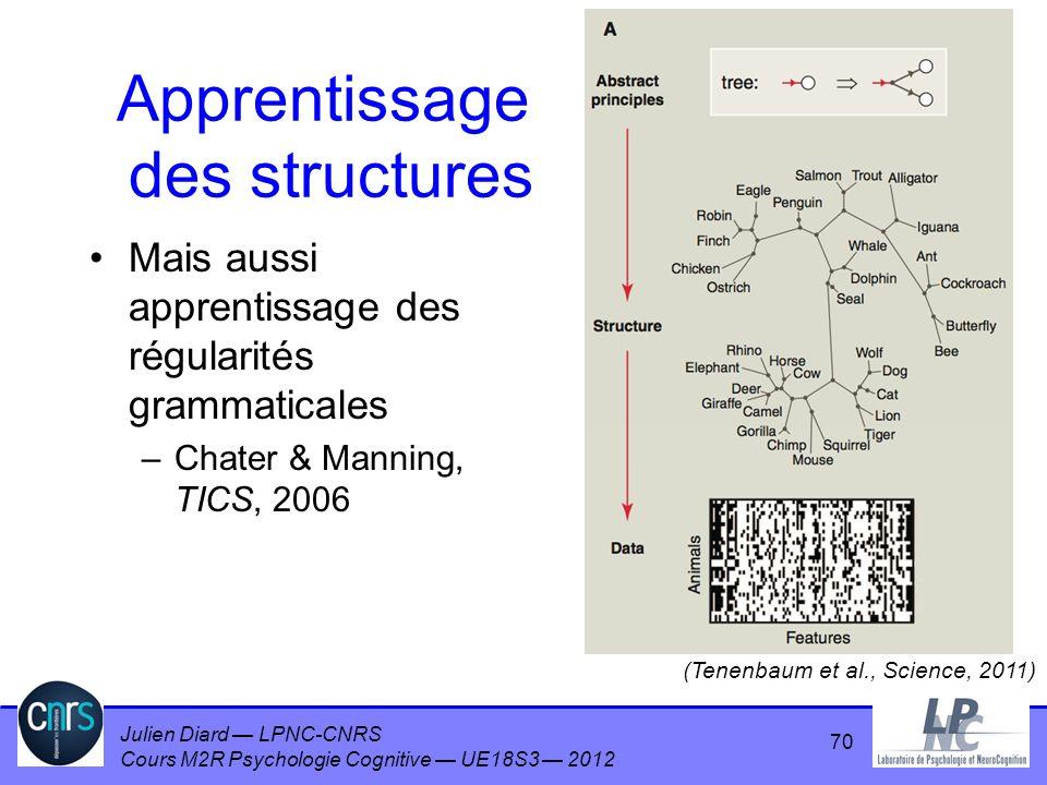 Julien Diard LPNC-CNRS Cours M2R Psychologie Cognitive UE18S3 2012 Apprentissage des structures Mais aussi apprentissage des régularités grammaticales
