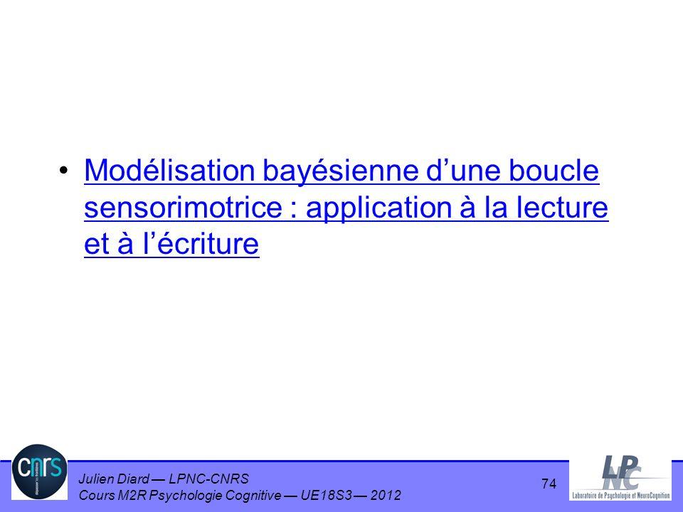 Julien Diard LPNC-CNRS Cours M2R Psychologie Cognitive UE18S3 2012 Modélisation bayésienne dune boucle sensorimotrice : application à la lecture et à