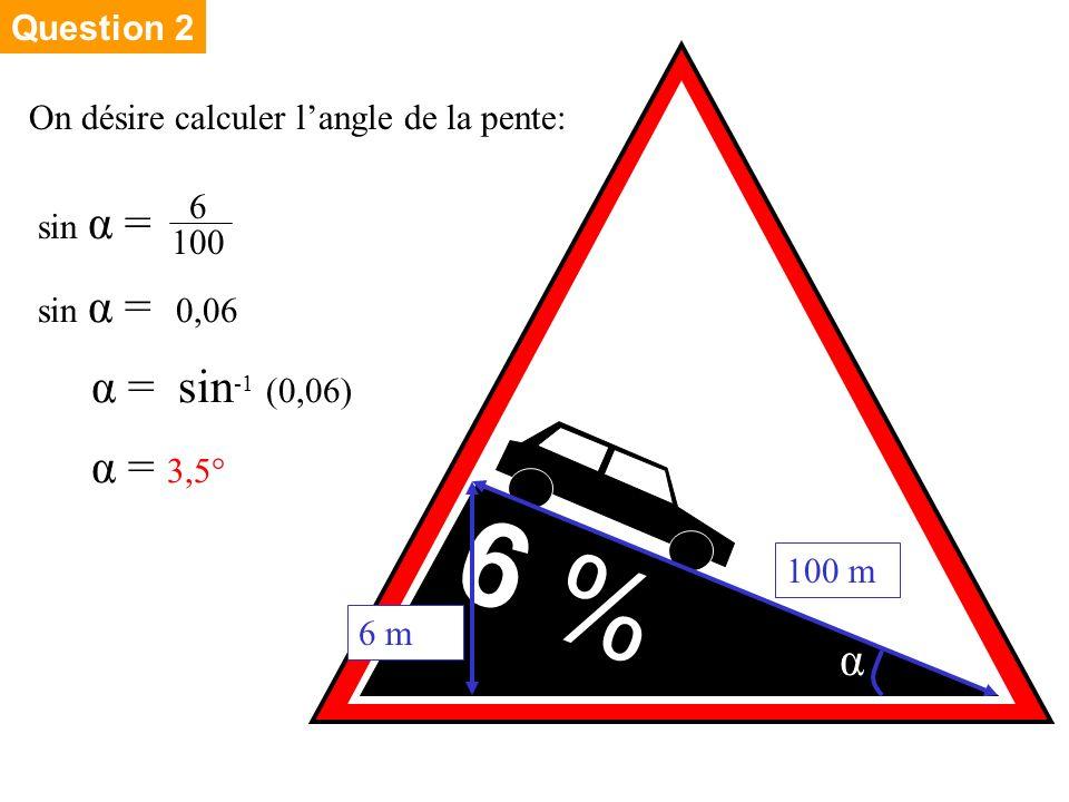 6 % On désire calculer langle de la pente: sin α = 6 m 100 m α 6 100 sin α = 0,06 α = sin -1 (0,06) α = 3,5° Question 2