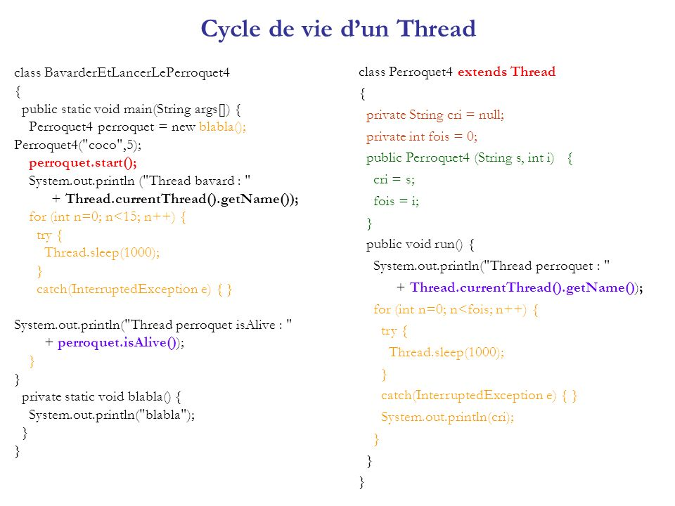 Synchronisation des threads Premier type de synchronisation : Synchronisation compétitive : lorsque plusieurs threads utilisent la même ressource (exemple : imprimeur, laccès concurrents à un compte en banque).
