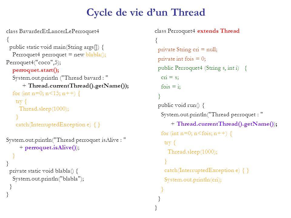 Les 4 classes sont dans le fichier BusSimple.java class BusSimple { public static void main (String args[]) { Station Gare = new Station () ; Bus b = new Bus (Gare, 2000) ; Usager u [ ] = { new Usager ( A , Gare, 1500), new Usager ( B , Gare, 3000), new Usager ( C ,Gare, 1000), new Usager ( D ,Gare, 1500), new Usager ( E , Gare, 1000)} ; b.start () ; for (int i = 0 ; i < u.length ; i++) u[ i ].start () ; } Exécution : E arrive a la station C arrive a la station D arrive a la station A arrive a la station Bus arrive a la station Bus repart de la station C est monte dans le bus E est monte dans le bus D est monte dans le bus A est monte dans le bus B arrive a la station