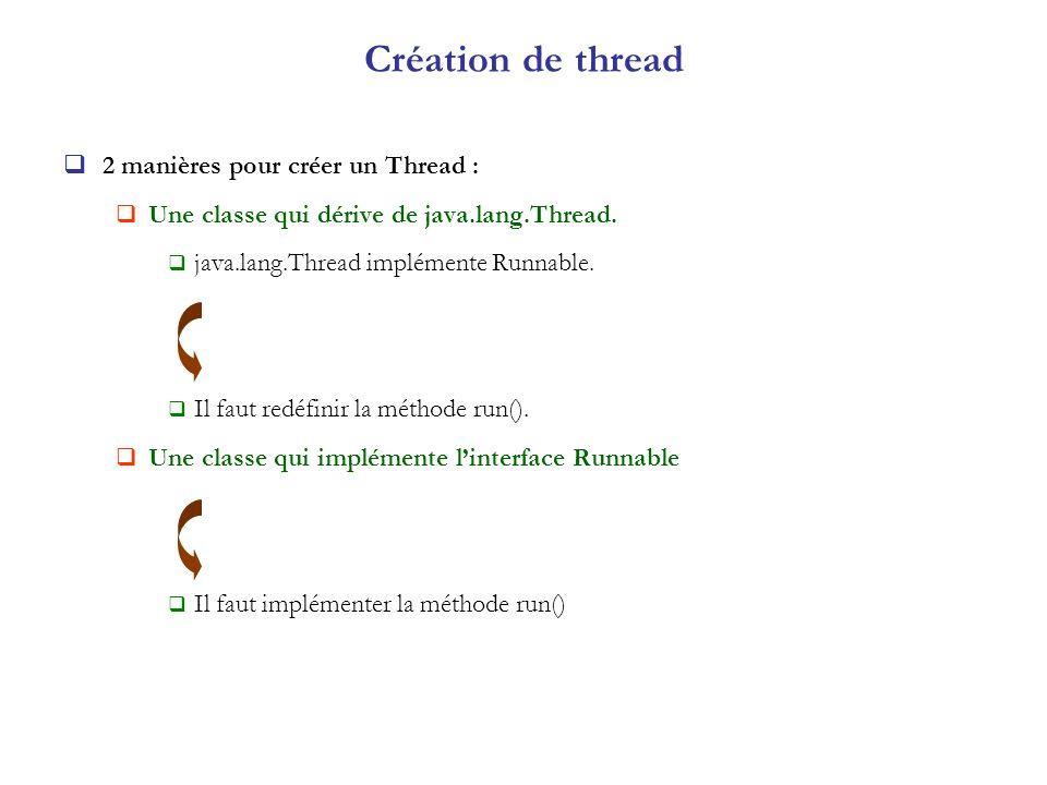 Création de thread 2 manières pour créer un Thread : Une classe qui dérive de java.lang.Thread. java.lang.Thread implémente Runnable. Il faut redéfini
