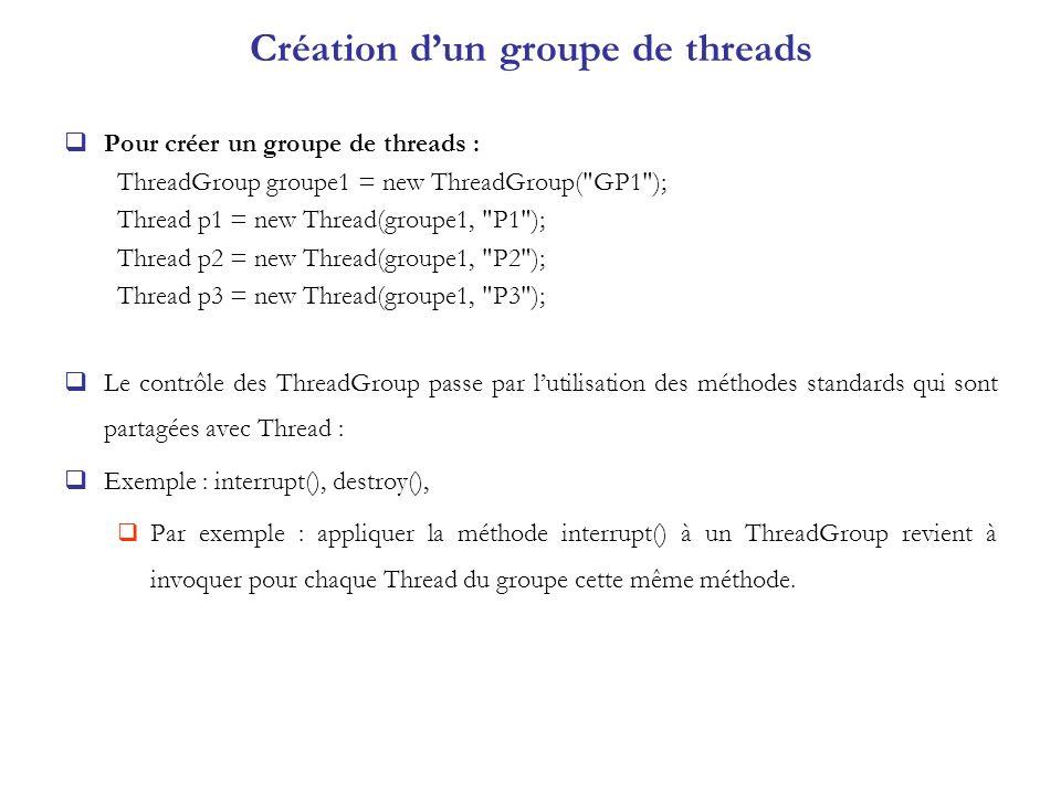 Création dun groupe de threads Pour créer un groupe de threads : ThreadGroup groupe1 = new ThreadGroup(