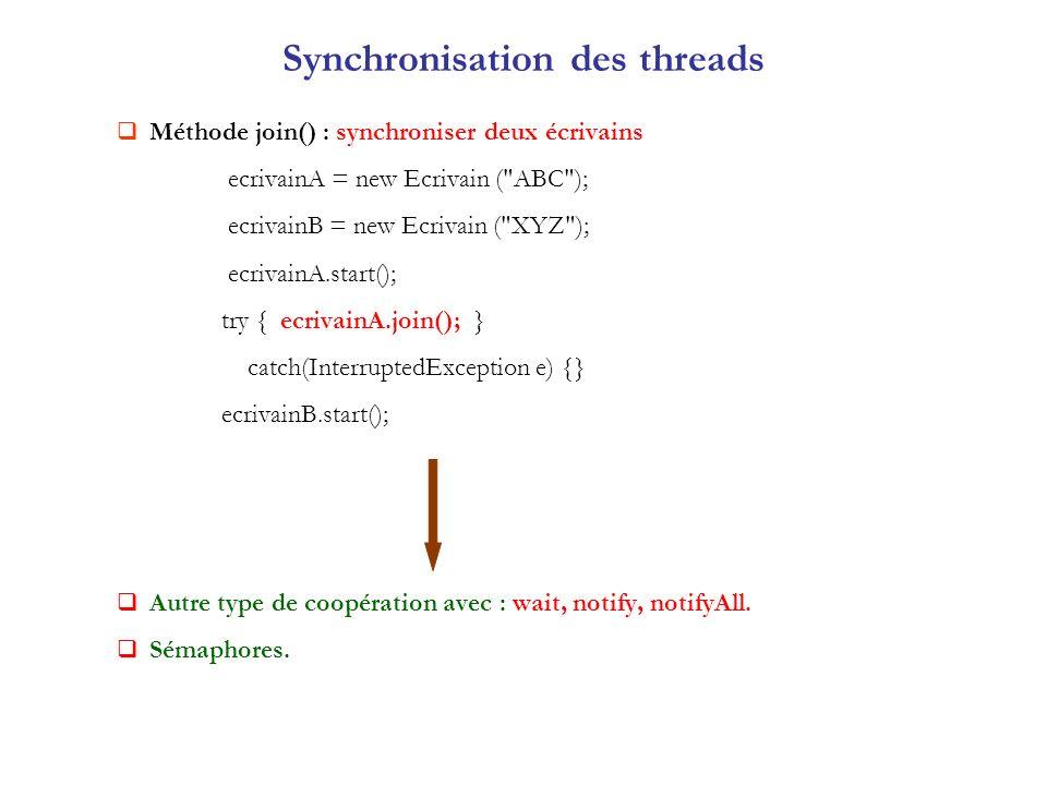 Synchronisation des threads Méthode join() : synchroniser deux écrivains ecrivainA = new Ecrivain (