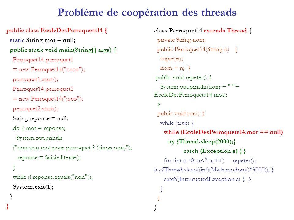 Problème de coopération des threads public class EcoleDesPerroquets14 { static String mot = null; public static void main(String[] args) { Perroquet14