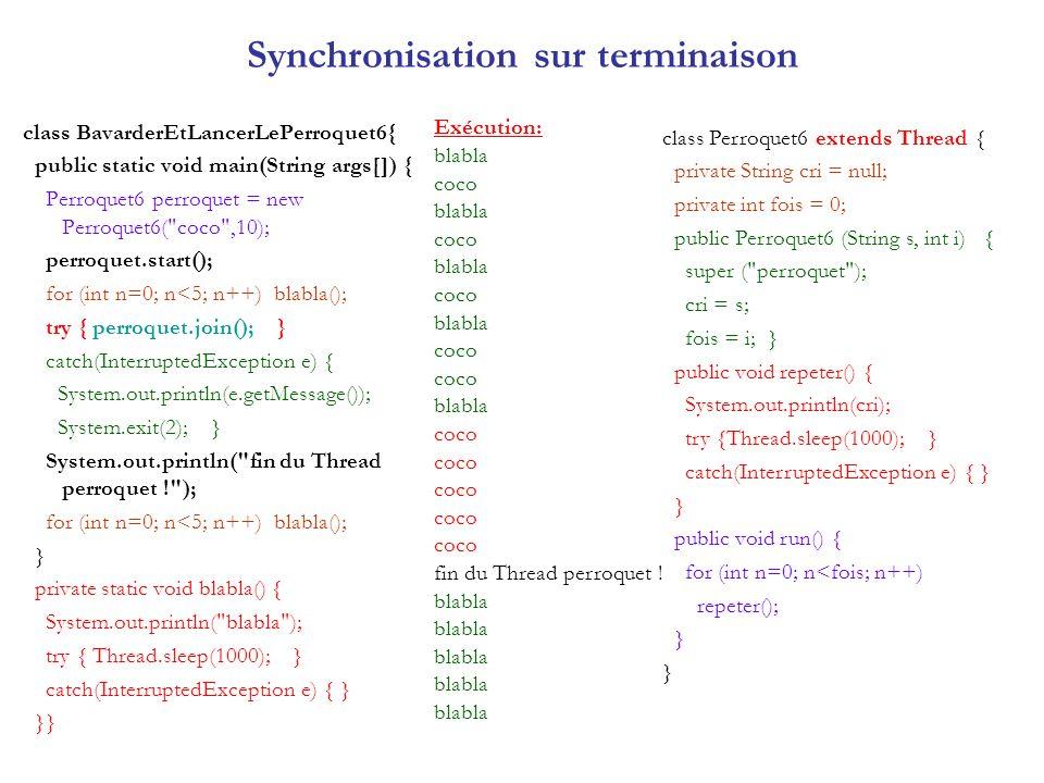 Exécution : ABC XYZ ABC XYZ ABC XYZ ABC XYZ ABC XYZ ABC XYZ ABC XYZ ABC XYZ ABC XYZ ABC Xecrivain de ABC a fini YZ ecrivain de XYZ a fini Ressource en exclusion mutuelle synchronized définit un verrou/ une section en exclusion mutuelle sur la méthode imprimer : Un seul Thread au plus peut exécuter la méthode à la fois.