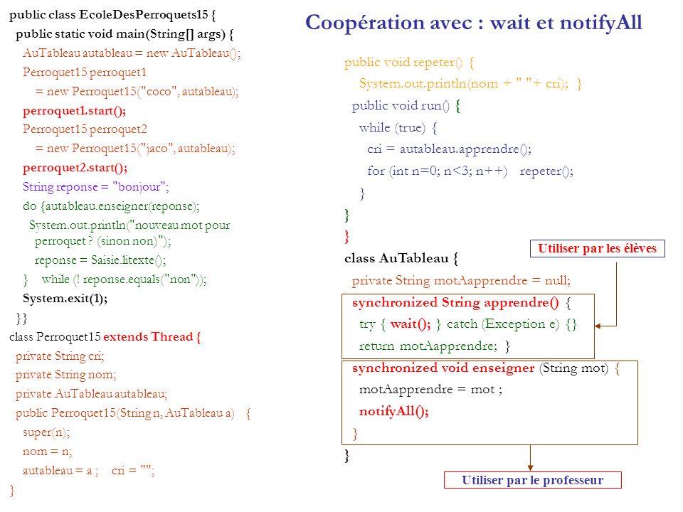 Coopération avec : wait et notifyAll public class EcoleDesPerroquets15 { public static void main(String[] args) { AuTableau autableau = new AuTableau(