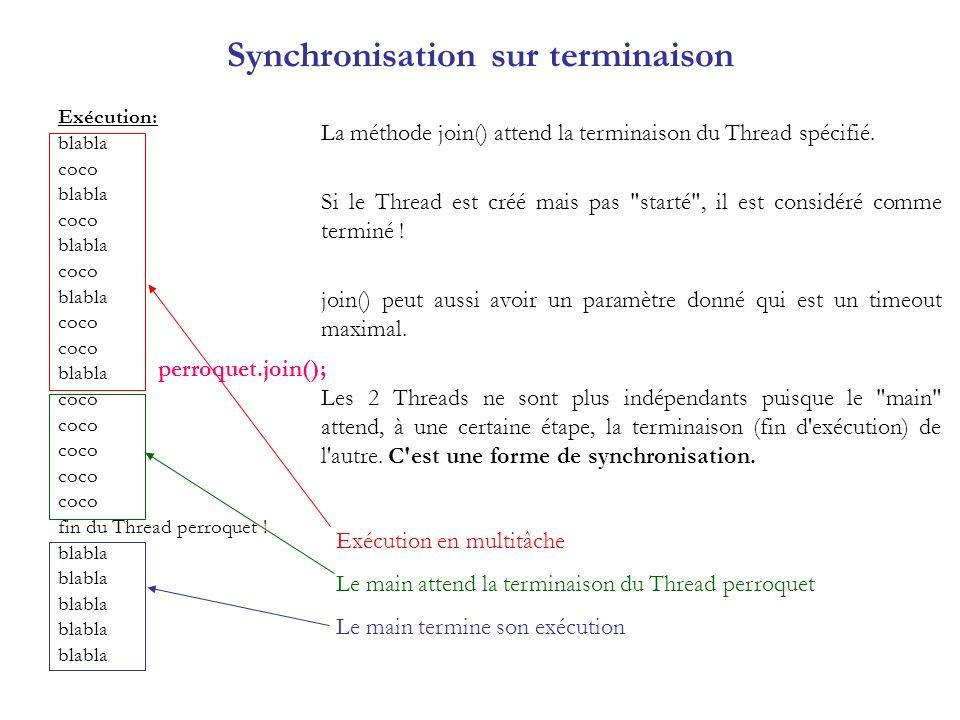 Méthode dinstance synchronisée class PerroquetsMatheux23 { private Compteur compteur; public static void main(String args[]) { new PerroquetsMatheux23(); } public PerroquetsMatheux23() { compteur = new Compteur(); Perroquet23 perroquetA = new Perroquet23( coco , 10); Perroquet23 perroquetB = new Perroquet23( bonjour , 10); perroquetA.setPriority(perroquetB.getPriority()%2); perroquetA.start(); perroquetB.start(); try { perroquetA.join(); perroquetB.join(); } catch(InterruptedException e) { } System.out.println( compteur = +compteur.valeur); } class Perroquet23 extends Thread { private String cri = null; private int fois = 0; public Perroquet23(String s, int i) { cri = s; fois = i; } public void repeter() { int valeur = compteur.plus1(); String repete = cri + + valeur; System.out.println(repete); try { Thread.sleep((int)(Math.random()*100)); } catch(InterruptedException e) { } } public void run(){ for (int n=0; n<fois; n++) repeter(); } class Compteur { private int valeur = 0; public synchronized int plus1() { return ++valeur; }