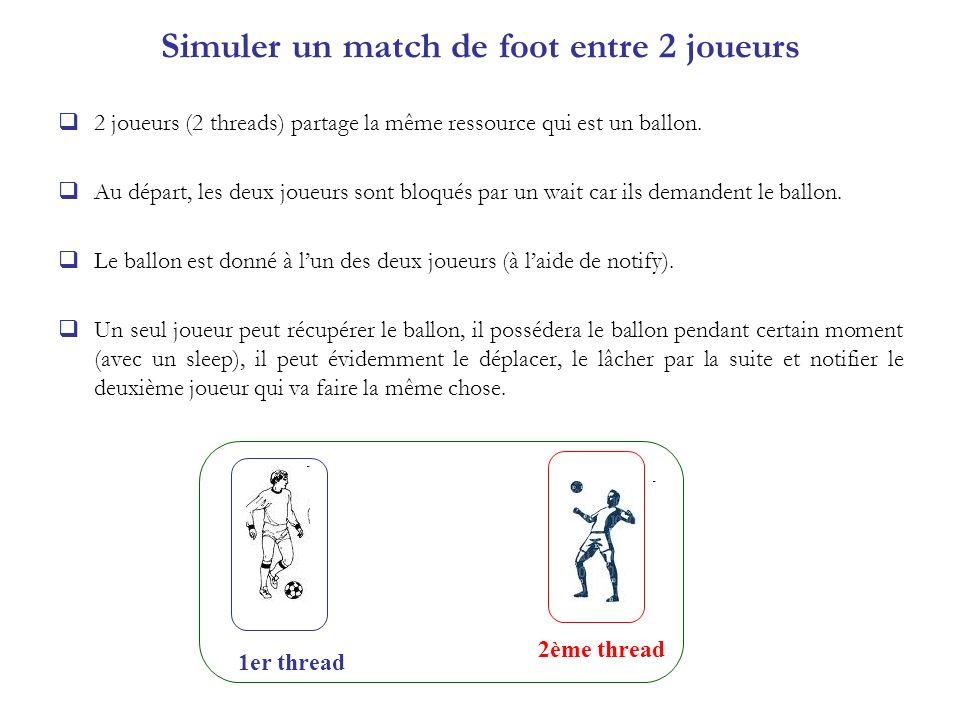 Simuler un match de foot entre 2 joueurs 2 joueurs (2 threads) partage la même ressource qui est un ballon. Au départ, les deux joueurs sont bloqués p
