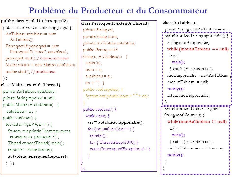 Problème du Producteur et du Consommateur public class EcoleDuPerroquet18 { public static void main(String[] args) { AuTableau autableau = new AuTable