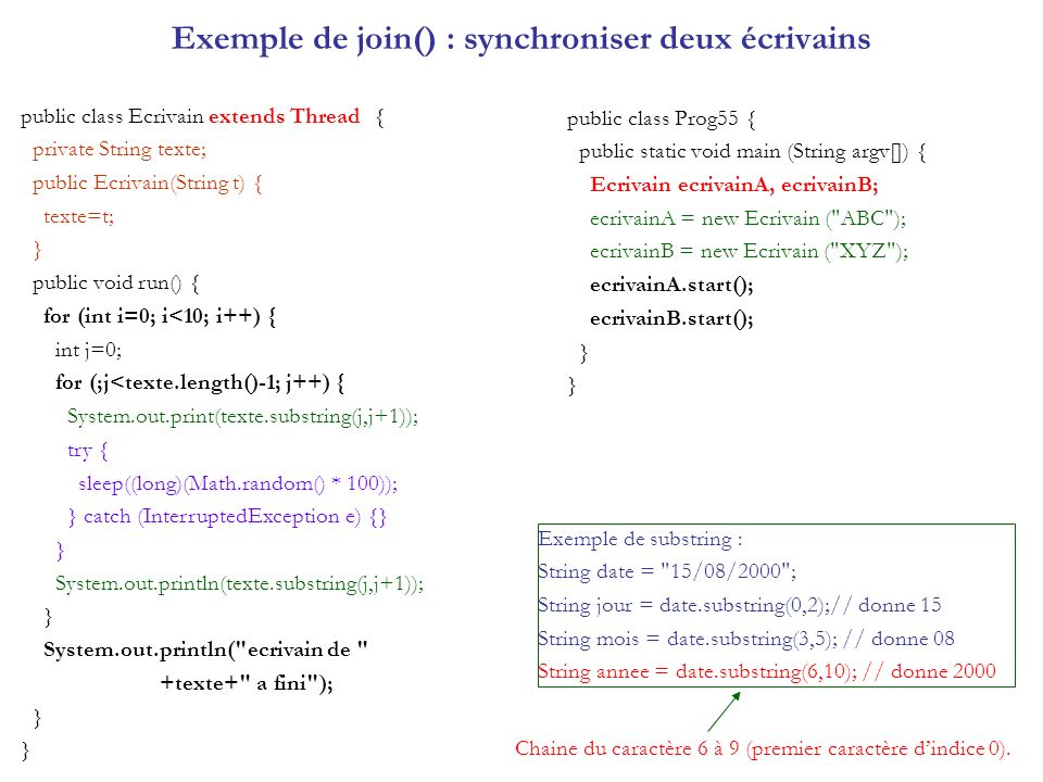 Exemple de join() : synchroniser deux écrivains public class Ecrivain extends Thread { private String texte; public Ecrivain(String t) { texte=t; } public void run() { for (int i=0; i<10; i++) { int j=0; for (;j<texte.length()-1; j++) { System.out.print(texte.substring(j,j+1)); try { sleep((long)(Math.random() * 100)); } catch (InterruptedException e) {} } System.out.println(texte.substring(j,j+1)); } System.out.println( ecrivain de +texte+ a fini ); } public class Prog55 { public static void main (String argv[]) { Ecrivain ecrivainA, ecrivainB; ecrivainA = new Ecrivain ( ABC ); ecrivainB = new Ecrivain ( XYZ ); ecrivainA.start(); ecrivainB.start(); } Exemple de substring : String date = 15/08/2000 ; String jour = date.substring(0,2);// donne 15 String mois = date.substring(3,5); // donne 08 String annee = date.substring(6,10); // donne 2000 Chaine du caractère 6 à 9 (premier caractère dindice 0).