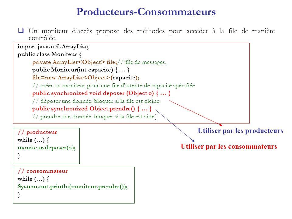 Producteurs-Consommateurs Un moniteur daccès propose des méthodes pour accéder à la file de manière contrôlée. import java.util.ArrayList; public clas