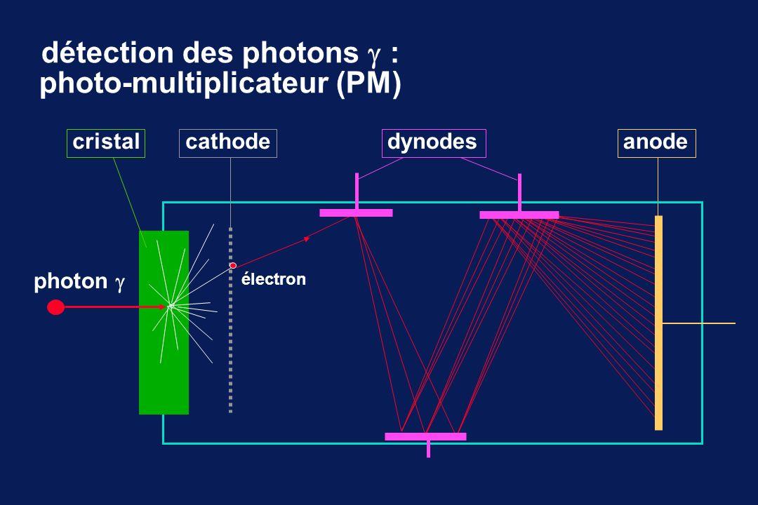 détection des photons : photo-multiplicateur (PM) photon dynodesanode électron cristalcathode