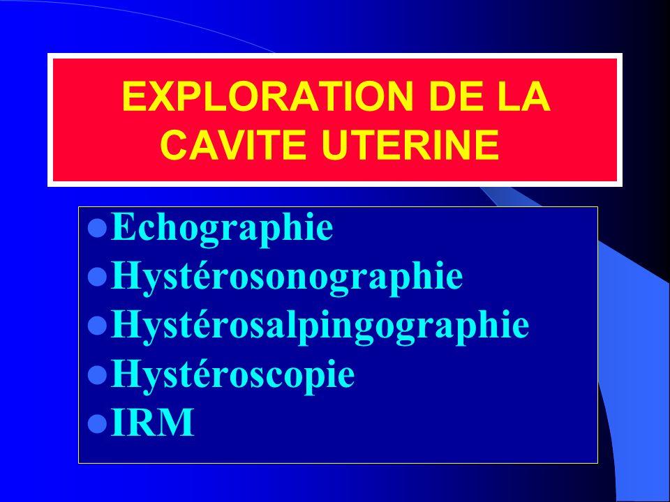 EXPLORATION DE LA CAVITE UTERINE Echographie Hystérosonographie Hystérosalpingographie Hystéroscopie IRM