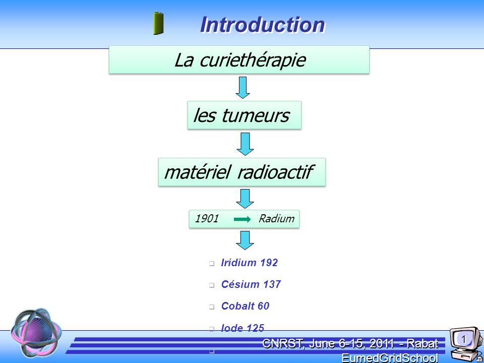 CNRST, June 6-15, 2011 - Rabat EumedGridSchool La curiethérapie les tumeurs matériel radioactif Iridium 192 Césium 137 Cobalt 60 Iode 125 ……. 1901 Rad