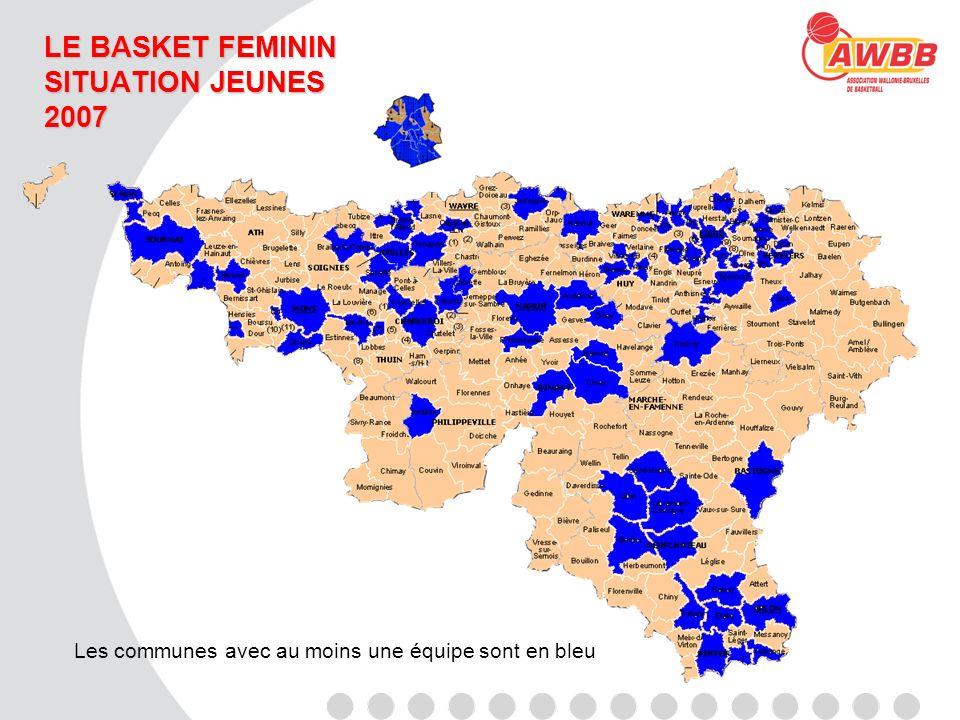 LE BASKET FEMININ SITUATION JEUNES 2007 Les communes avec au moins une équipe sont en bleu